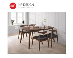 MF DESIGN  Olim Scandinavian Dining Set (1 Table + 4 Chairs) - Scandinavian Style [Full Solid Wood]